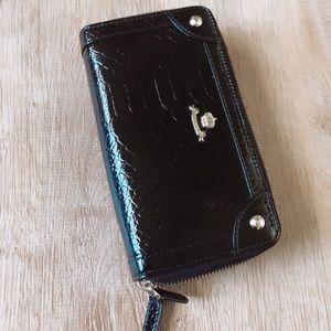 Toscano Black double zipper Wallet